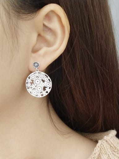 925 Sterling Silver Hollow Flower Statement Chandelier Earring