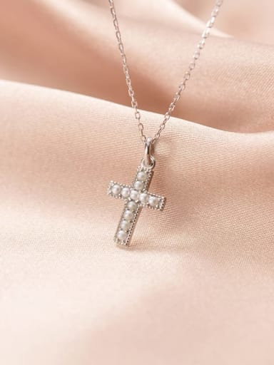 925 Sterling Silver Imitation Pearl Cross Minimalist Regligious Necklace