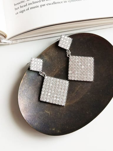 925 Sterling Silver Cubic Zirconia White Square Statement Single Earring