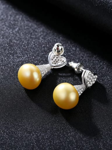Platinum yellow bead 925 Sterling Silver Cubic Zirconia White Heart Luxury Drop Earring