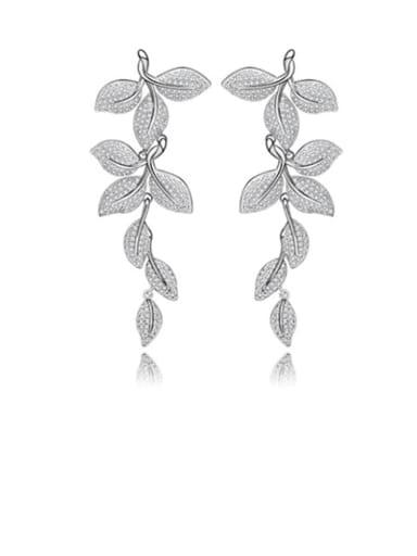 Copper Cubic Zirconia Flower Luxury Cluster Earring