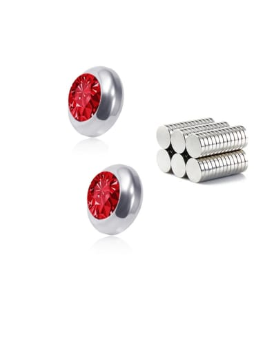 red  8mm Titanium Rhinestone Multi Color Round Minimalist  Single Rhinestone  Magnet Stud Earring