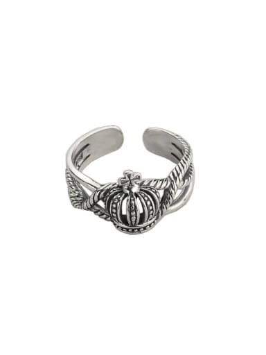 Vintage Sterling Silver With Platinum Plated Vintage Hollow Crown Free Size Rings