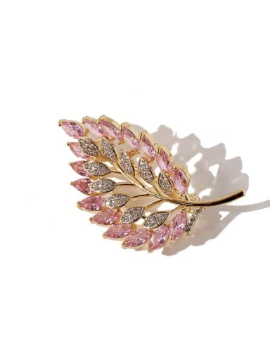 gold+pink Copper Cubic Zirconia White Leaf Dainty Brooches