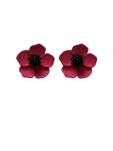 Zinc Alloy Enamel Flower Minimalist Stud Earrings