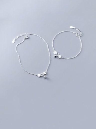 925 Sterling Silver Bead Bell Minimalist Link Bracelet