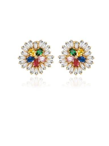 Copper Cubic Zirconia Multi Color Flower Dainty Stud Earring
