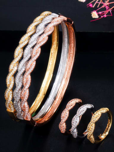 Copper Cubic Zirconia Luxury Round  Ring and Bangle Set