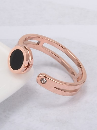 Titanium Enamel Black Round Minimalist Free Size Ring