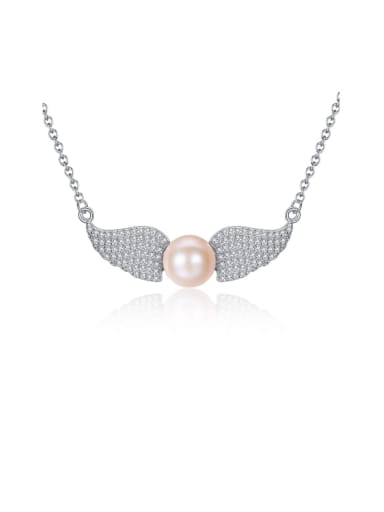 925 Sterling Silver Cubic Zirconia delicate Wing Necklace