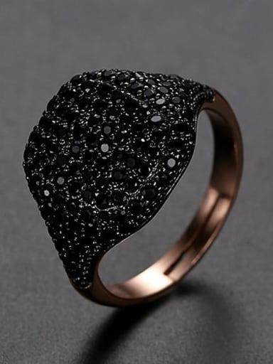 Gun black Copper Rhinestone Full Diamond Geometric Minimalist Free Size Band Ring