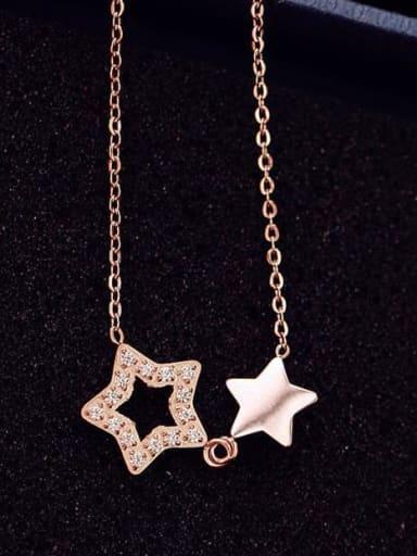 Titanium Hollow Pentagram  Necklace