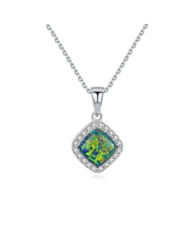 925 Sterling Silver Opal Multi Color Simple square pendant  Necklace