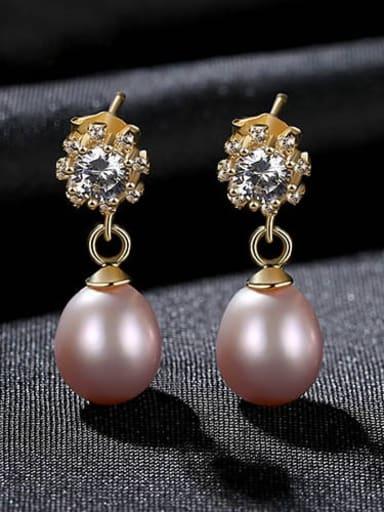 Purple 4i10 925 Sterling Silver Freshwater Pearl Flower Vintage Drop Earring