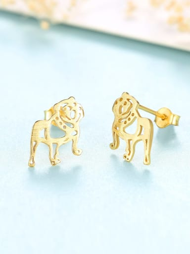 18K 17G11 925 Sterling Silver Dog Cute  dog Stud Earring