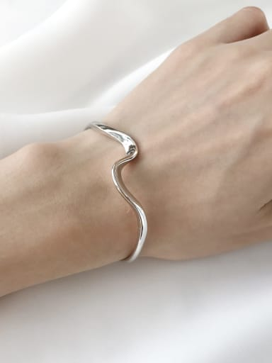 925 Sterling Silver Irregular Minimalist Cuff Bangle