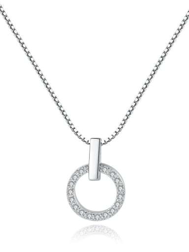 925 Sterling Silver Cubic Zirconia simple temperament Round Pendant Necklace
