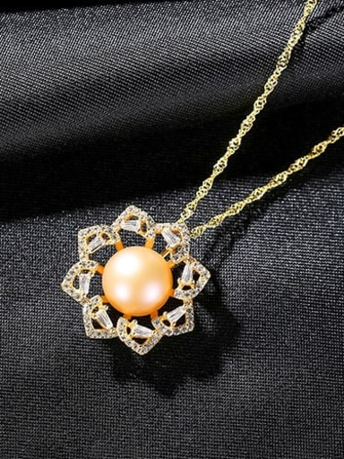 Pink 7a08 925 Sterling Silver Rhinestone Flower Dainty Necklace