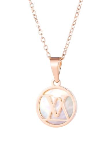 Titanium Shell Letter Minimalist pendant Necklace