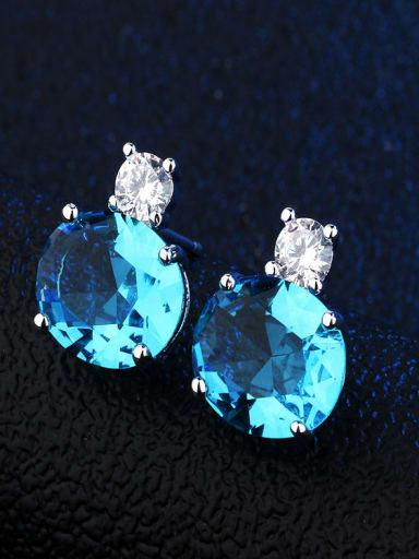 Platinum sky blue Copper Glass Stone Round Dainty Stud Earring