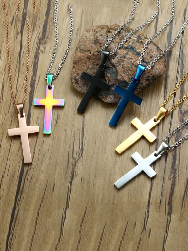 Stainless Steel Simple Smooth Cross Necklace