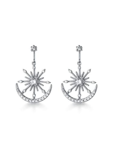 925 Sterling Silver Rhinestone Star Minimalist Drop Earring