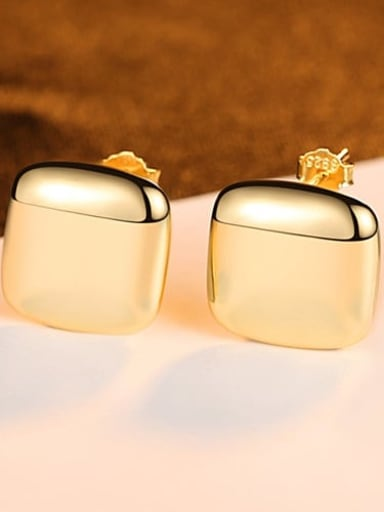 18k 24C03 925 Sterling Silver Smooth Square Minimalist Stud Earring