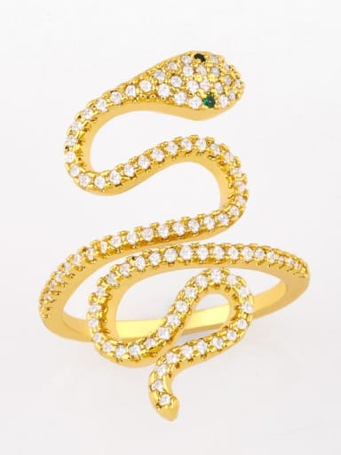 Brass Cubic Zirconia Snake Vintage Band Ring