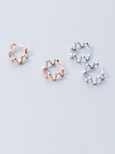 925 Sterling Silver  Minimalist wave Huggie Earring