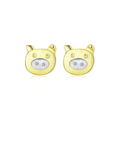925 Sterling Silver Pig Minimalist Stud Earring