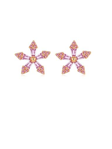 925 Sterling Silver Cubic Zirconia Pink Flower Minimalist Stud Earring