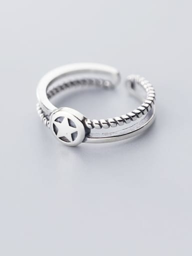 925 Sterling Silver Vintage Fashion smiley  Free Size  Ring