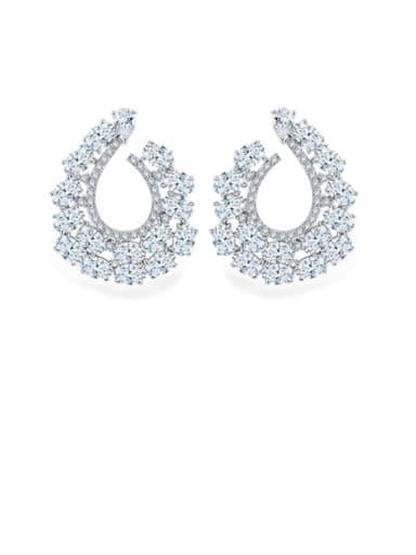 Copper Cubic Zirconia Irregular Luxury Cluster Earring