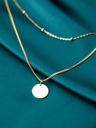 925 sterling silver round minimalist Fashion Round Double Chain  necklace
