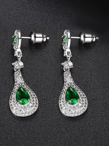 Emerald t02b08 Copper Cubic Zirconia Geometric Dainty Drop Earring