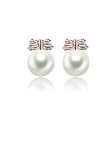 Copper Imitation Pearl Round Ball Minimalist Stud Earring