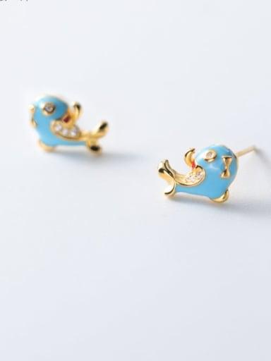 925 Sterling Silver Enamel Dolphin Cute Stud Earring