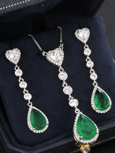 Pendants Brass Cubic Zirconia Vintage Water Drop  Earring and Necklace Set