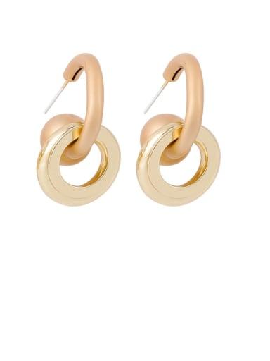 Brass Round Minimalist Drop Earring