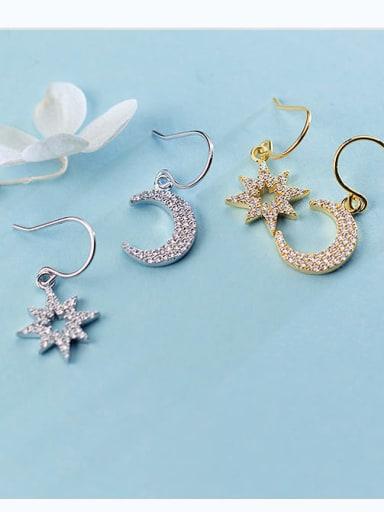 925 Sterling Silver Cubic Zirconia  Moon  star Dainty Hook Earring