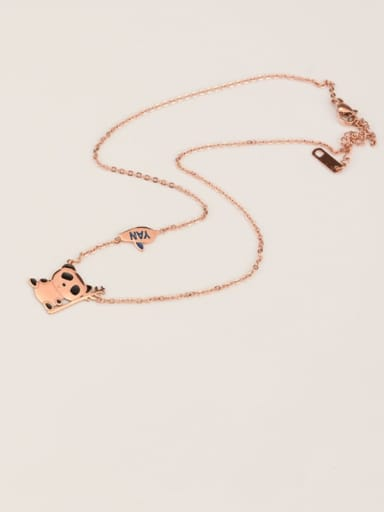 Rose Gold Titanium Black Enamel Panda Cute Choker Necklace