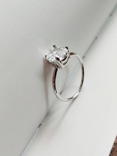 925 Sterling Silver Four Claw Diamond Ring  Minimalist Midi Ring