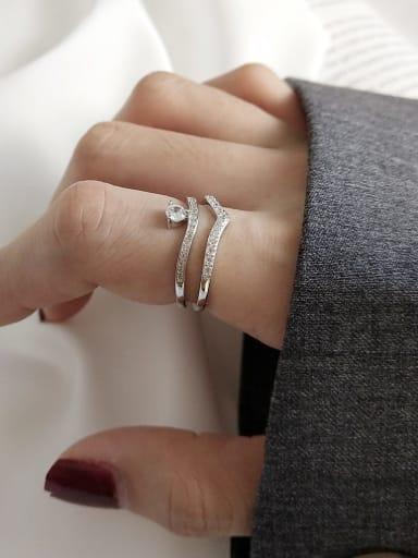 925 Sterling Silver Cubic Zirconia White Irregular Minimalist Midi Ring