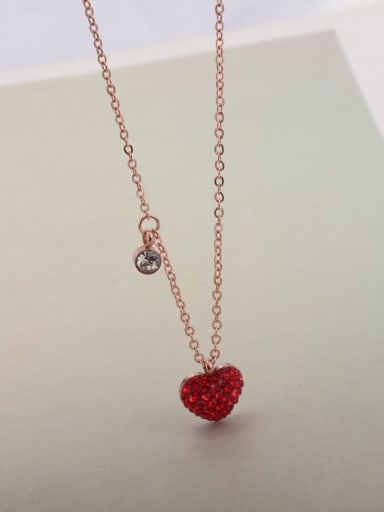 Titanium Rhinestone Heart Minimalist Necklace