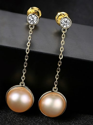 18K pink 3b02 925 Sterling Silver Freshwater Pearl White Ball Trend Threader Earring
