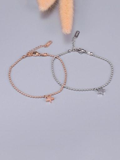 Titanium Pentagram Round bead  Anklet
