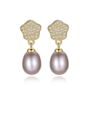 925 Sterling Silver Cubic Zirconia  Geometric Freshwater Pearls   Earring