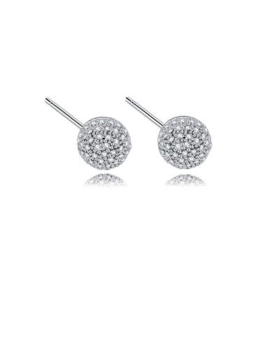 Copper Cubic Zirconia Round Ball   Minimalist Stud Earring