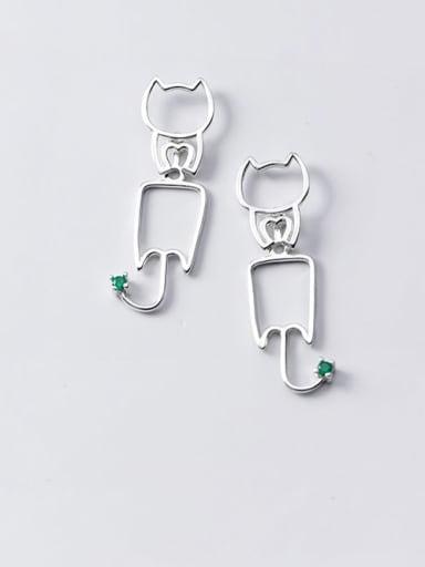 925 Sterling Silver Cat Minimalist Drop Earring