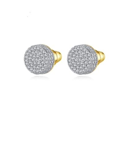 gold Copper Cubic Zirconia Round Minimalist Cluster Earring